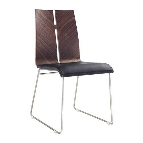 Whiteline Modern Living Lauren Natural Walnut and Black Leatherette Dining Chair, Set of Two