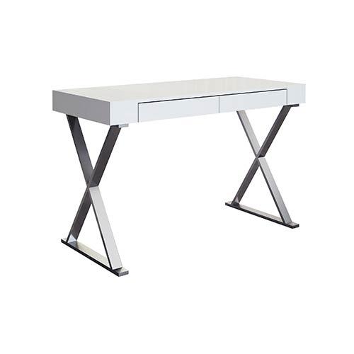Elm High Gloss White Large Desk
