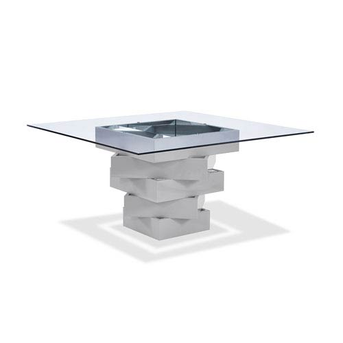 Whiteline Modern Living Carson Dining Table, High Gloss Gray Lacquer  Geometric Base With Mirrors