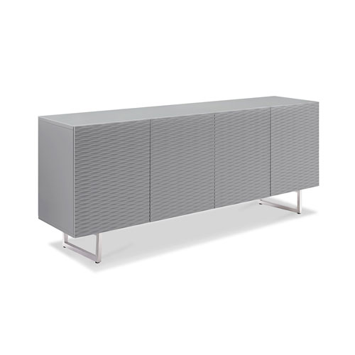 Navi Nightstand, High Gloss Grey with Stainless Steel Trim with Two Drawers