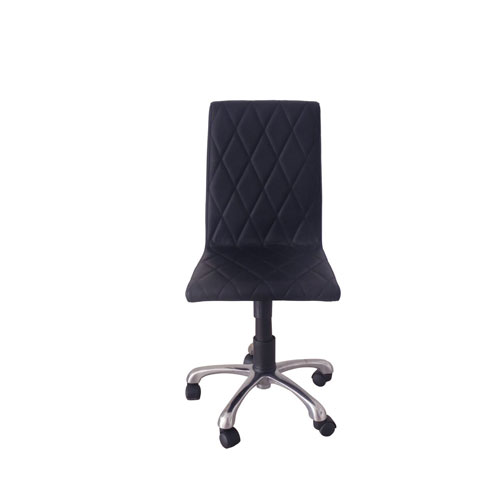 Julian Armless Office Chair, Black Faux Leather