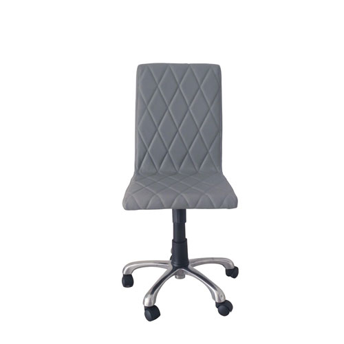 Julian Armless Office Chair, Grey Faux Leather