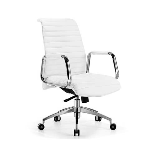 Whiteline Modern Living Oxford White Leatherette Low Back Office Chair