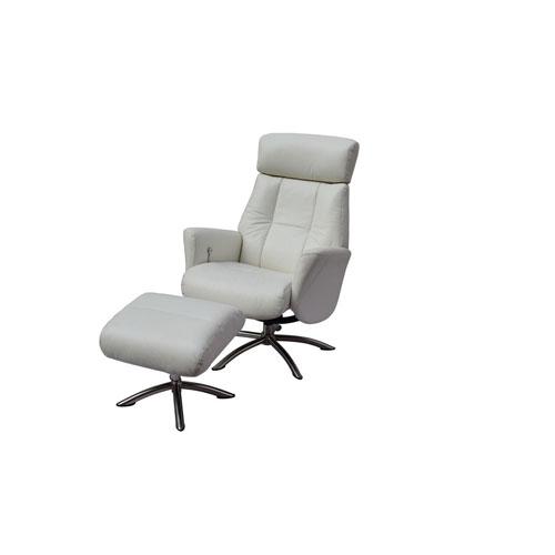Whiteline Modern Living Addison White Recliner Armchair and Ottoman
