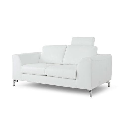 Whiteline Modern Living Angela White and Stainless Steel Sofa