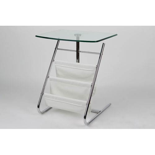 Whiteline Modern Living Bob Tempered Glass Side White and Chrome Table and Stand