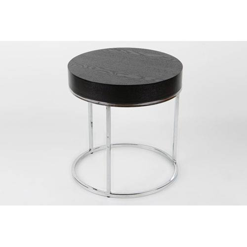 Whiteline Modern Living Mog Black and Chrome 21-Inch Side Table