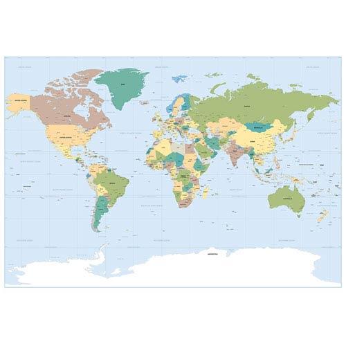 WallPops! World Map Wall Mural 1 617 | Bellacor