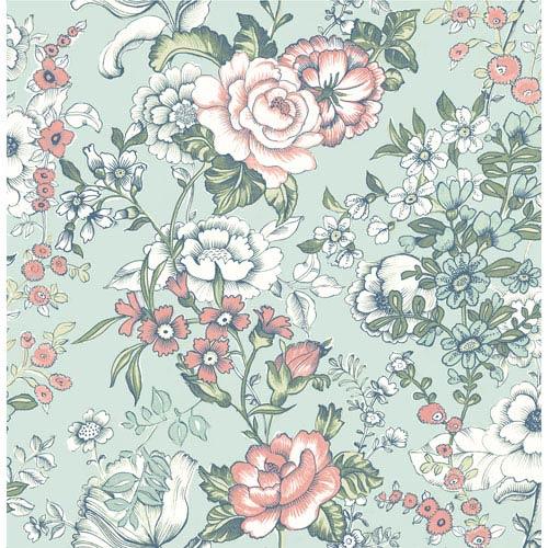 Ainsley Aqua Boho Floral Wallpaper