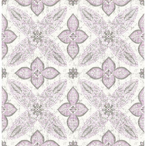 Off Beat Ethnic Violet Geometric Floral Wallpaper