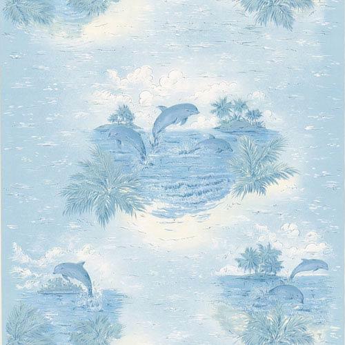 Alcott Blue Tropical Dolphin Wallpaper