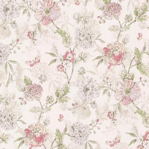 Beecroft Pink Butterfly Peony Trail Wallpaper