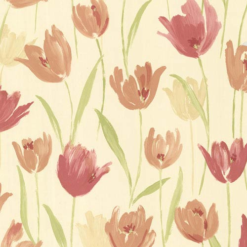Finch Red Hand Painted Tulips Wallpaper