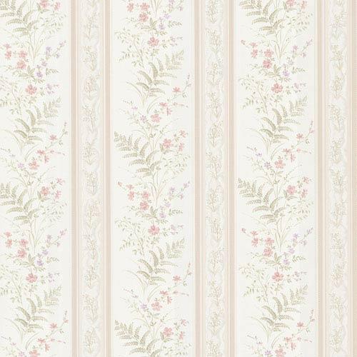 Bell Pink Wildflower Stripe Wallpaper