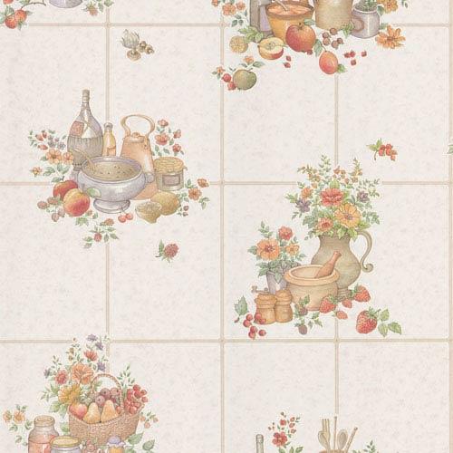 Pajer Mauve Vintage Fruit Tile Wallpaper