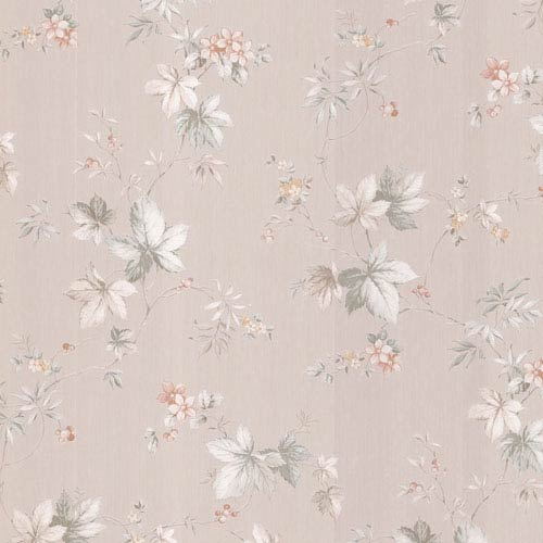 Lamott Beige Satin Floral Trail Wallpaper