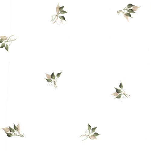 Sterling Beige Leaf Toss Wallpaper