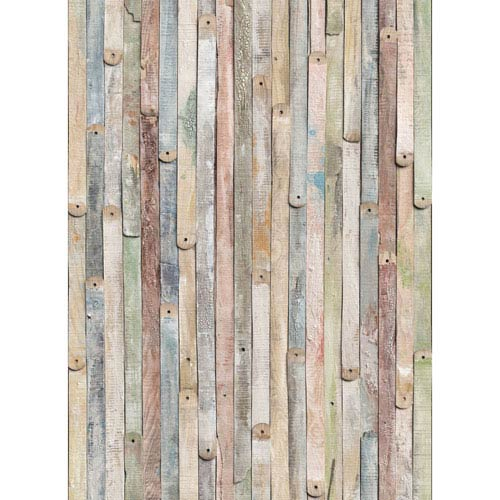 Multicolor Vintage Wood Wall Mural