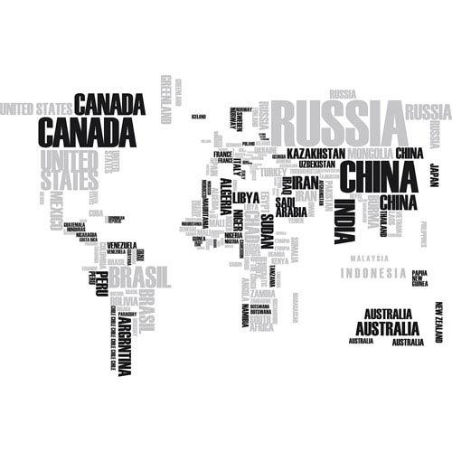 WallPops! Grey Textual World Map Wall Decals Cr 57110   Bellacor