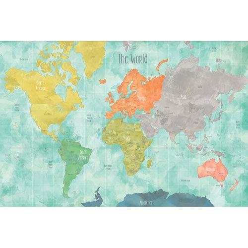 819819462a WallPops! Aquarelle World Map Decal Dwpk1829   Bellacor