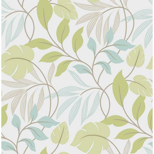 WallPops! Blue and Green Meadow Peel and Stick Wallpaper