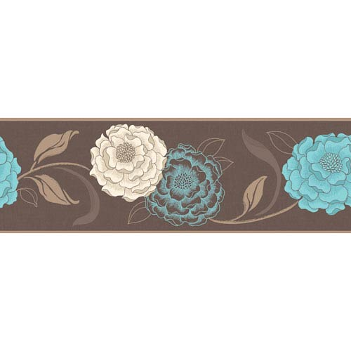 Esme Chocolate, Cream and Teal Peel and Stick Border, Set of Two