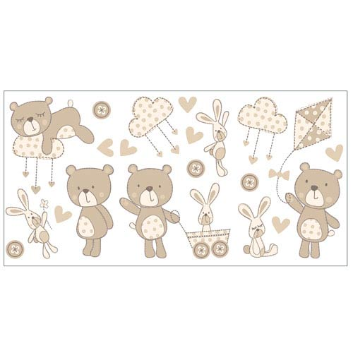 WallPops! Bear and Boo Neutral Wall Stickers, Set of 40