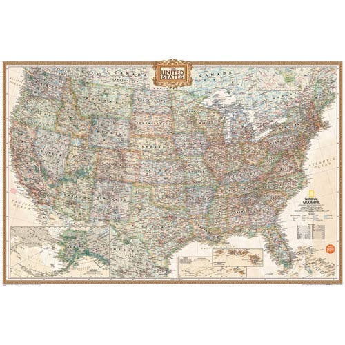 WallPops! National Geographic Usa Dry Erase Map Decal