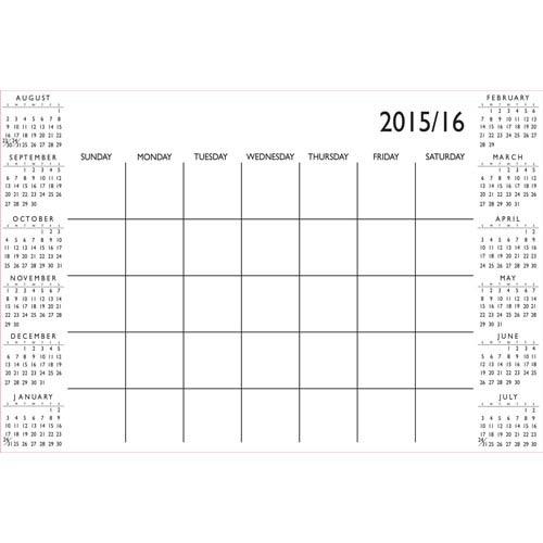 White Academic 2015-16 Calendar Decal
