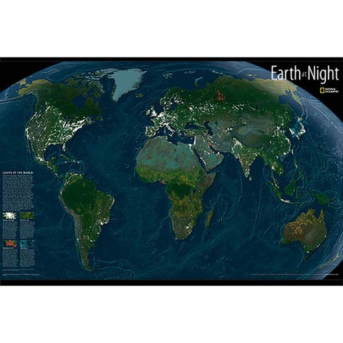 WallPops! Multicolor Earth At Night Map Decal Wpgd1635 | Bellacor