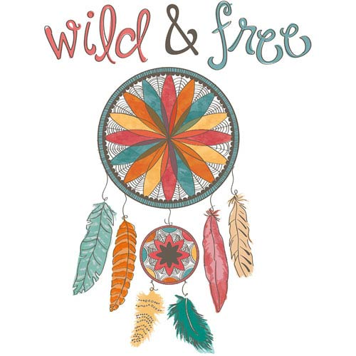 Multicolor Wild And Free Wall Quote