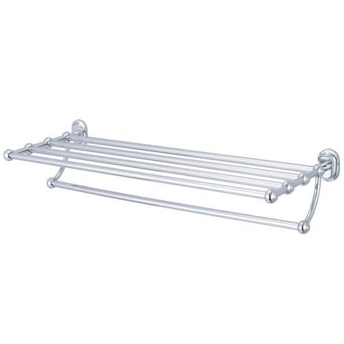 Water Creation Glass Series Accessories Hand Polished Richly Triple Plated Chrome 29-Inch Towel Rack Shelf