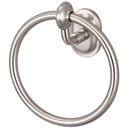 Glass Series Accessories Brushed Nickel with Protective Coating 6.5-Inch Towel Ring