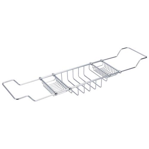 Water Creation Useful Elegance Hand Polished Richly Triple Plated Chrome Expandable Bath Shower Caddy