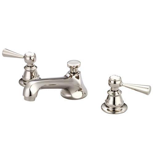 Sarah Polished Nickel Pvd Metal Lever Handles Widespread Bathroom Low Lead Water Sense Faucet