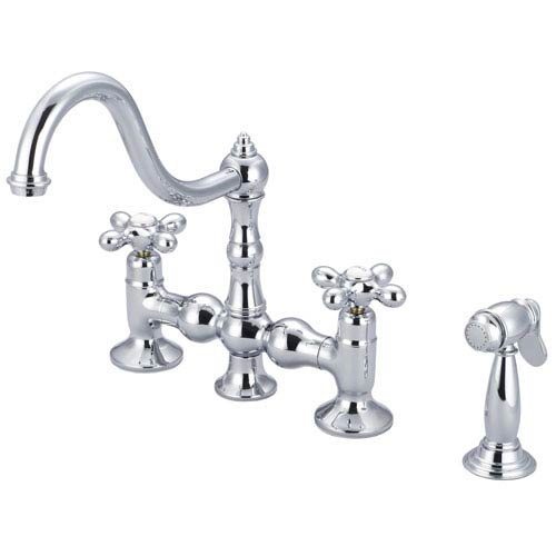 Janelle Hand Polished Richly Triple Plated Chrome Two Lever Handles Kitchen Low Lead Water Sense Faucet with Side Spray