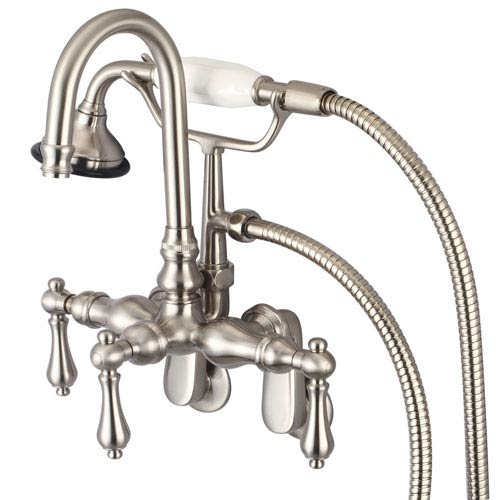 Vintage Classic Brushed Nickel with Protective Coating Lever Handles Clawfoot Tub Filler with Hand Shower