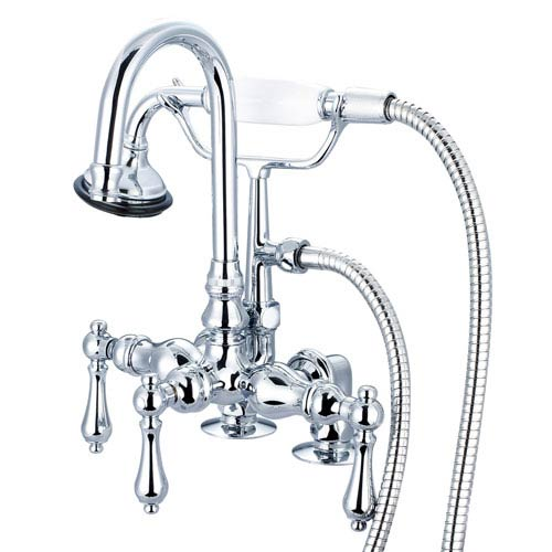 Water Creation Vintage Classic Hand Polished Richly Triple Plated Chrome Lever Handles Clawfoot Tub Filler with Hand Shower