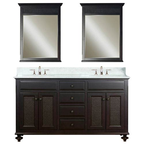 Water Creation London Espresso  Double Sink Bathroom Vanity Combo
