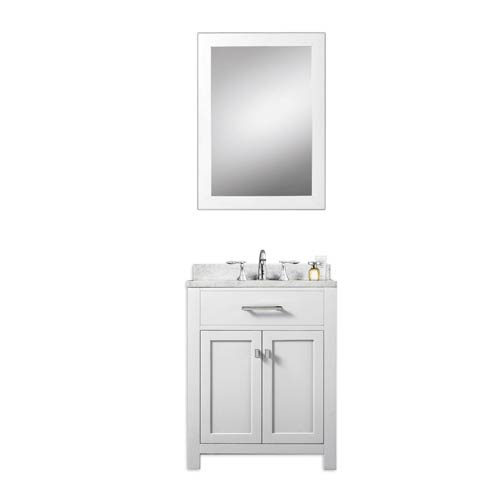 Madison Pure White 24-Inch Single Sink Bathroom Vanity with Matching Framed Mirror
