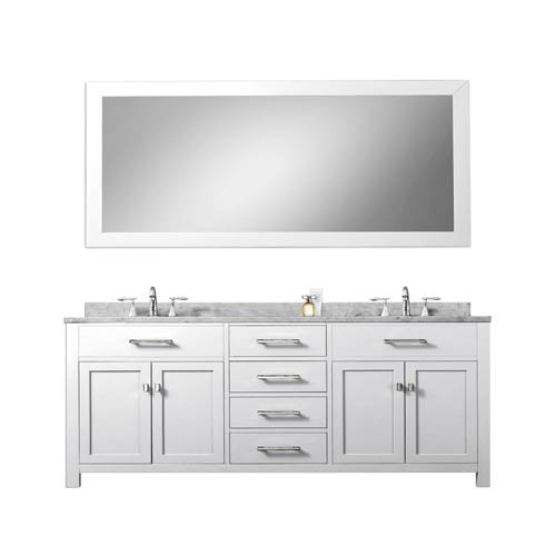 Water Creation Madison Pure White 72 Inch Double Sink Bathroom Vanity With Matching Framed Mirror 2141madis72wb 1 2