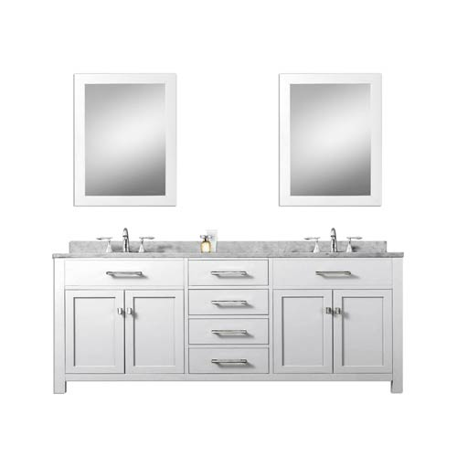 Water Creation Madison Pure White 72-Inch Double Sink Bathroom Vanity Combo with Two Matching Framed Mirror