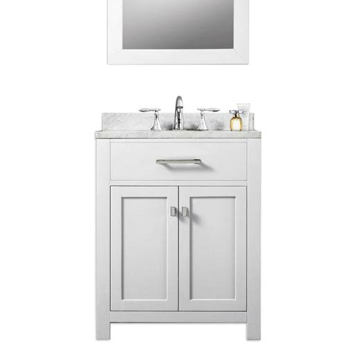 Madison Pure White 24-Inch Single Sink Bathroom Vanity