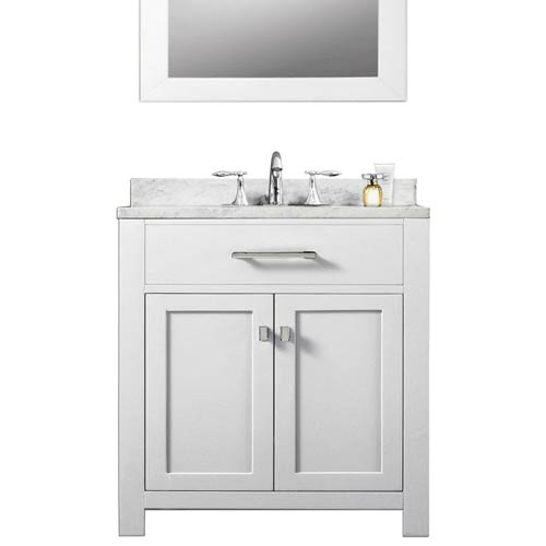 Madison Pure White 30-Inch Single Sink Bathroom Vanity