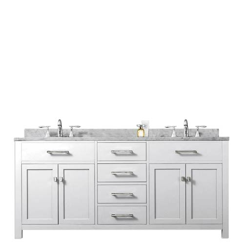 Water Creation Madison 60w 60 Inch Solid White Double Sink