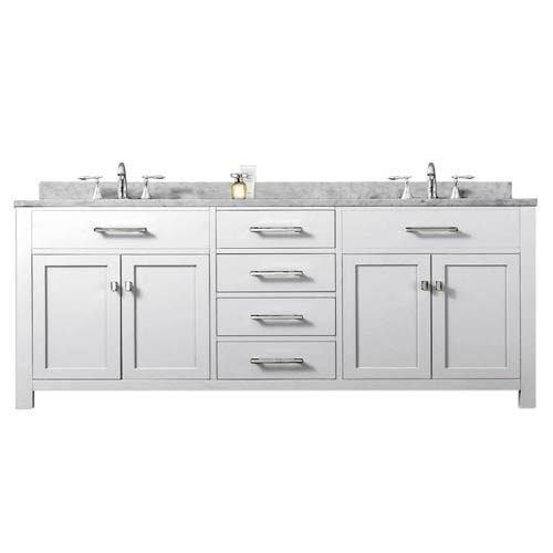 Water Creation Madison Pure White 72-Inch Double Sink Bathroom Vanity