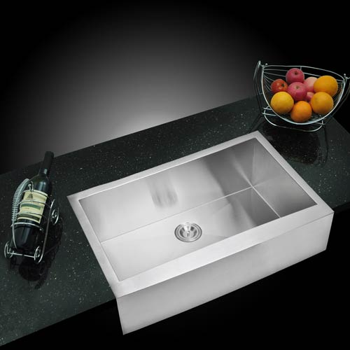 Water Creation Premium Scratch Resistant Satin 36-Inch, Zero Radius Single Bowl Apron Front Kitchen Sink with Drain and