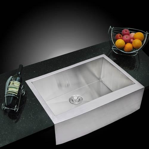 Water Creation Premium Scratch Resistant Satin 30-Inch, Zero Radius Single Bowl Apron Front Kitchen Sink with Drain, Strainer