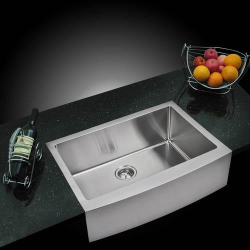 Water Creation Premium Scratch Resistant Satin 30-Inch, 15 mm Corner Radius Single Bowl Apron Front Kitchen Sink with Drain,