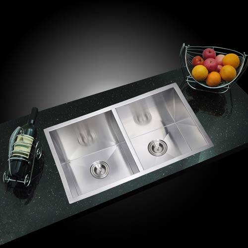 Water Creation Premium Scratch Resistant Satin 31-Inch, Zero Radius Double Bowl Undermount Kitchen Sink Combo with Drain,